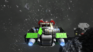 My life's work, a mining ship that tears through iron and nickel ore. The recently implemented conveyor objects allowed me to pipe all of the ore directly into a cargo container which can be emptied into a collection funnel above my refiners. Neato!